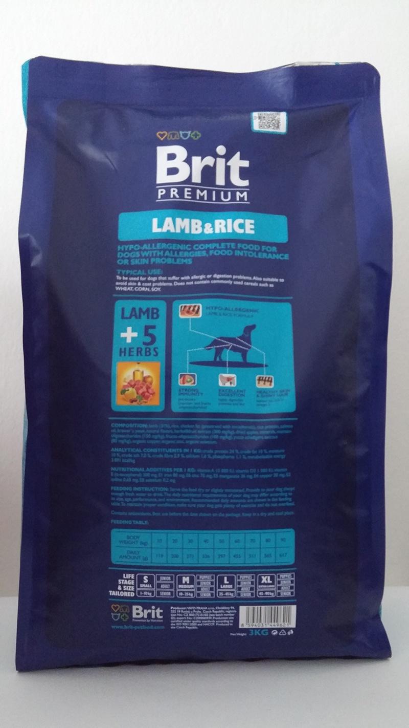Корм для собак - BRIT Premium Lamb & Rice, 15 кг.