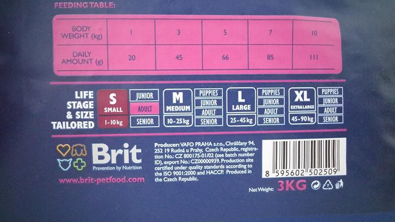 Корм для собак - BRIT Premium Adult S, 1kg