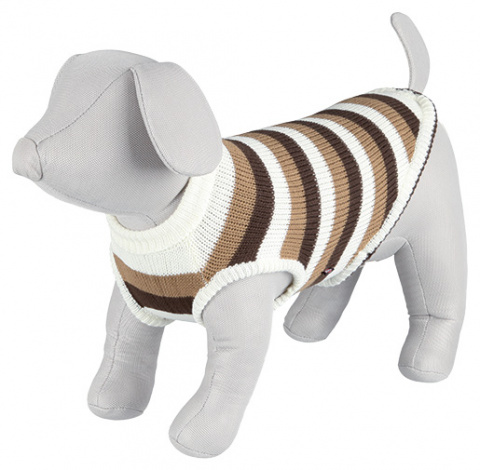Džemperis suņiem - Hamilton Pullover, XS, 25 cm, brūna/balta ar strīpām title=