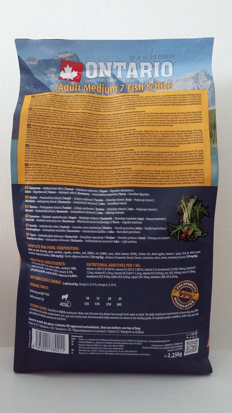 Корм для собак - ONTARIO Adult Medium Fish & Rice, 2.25 кг
