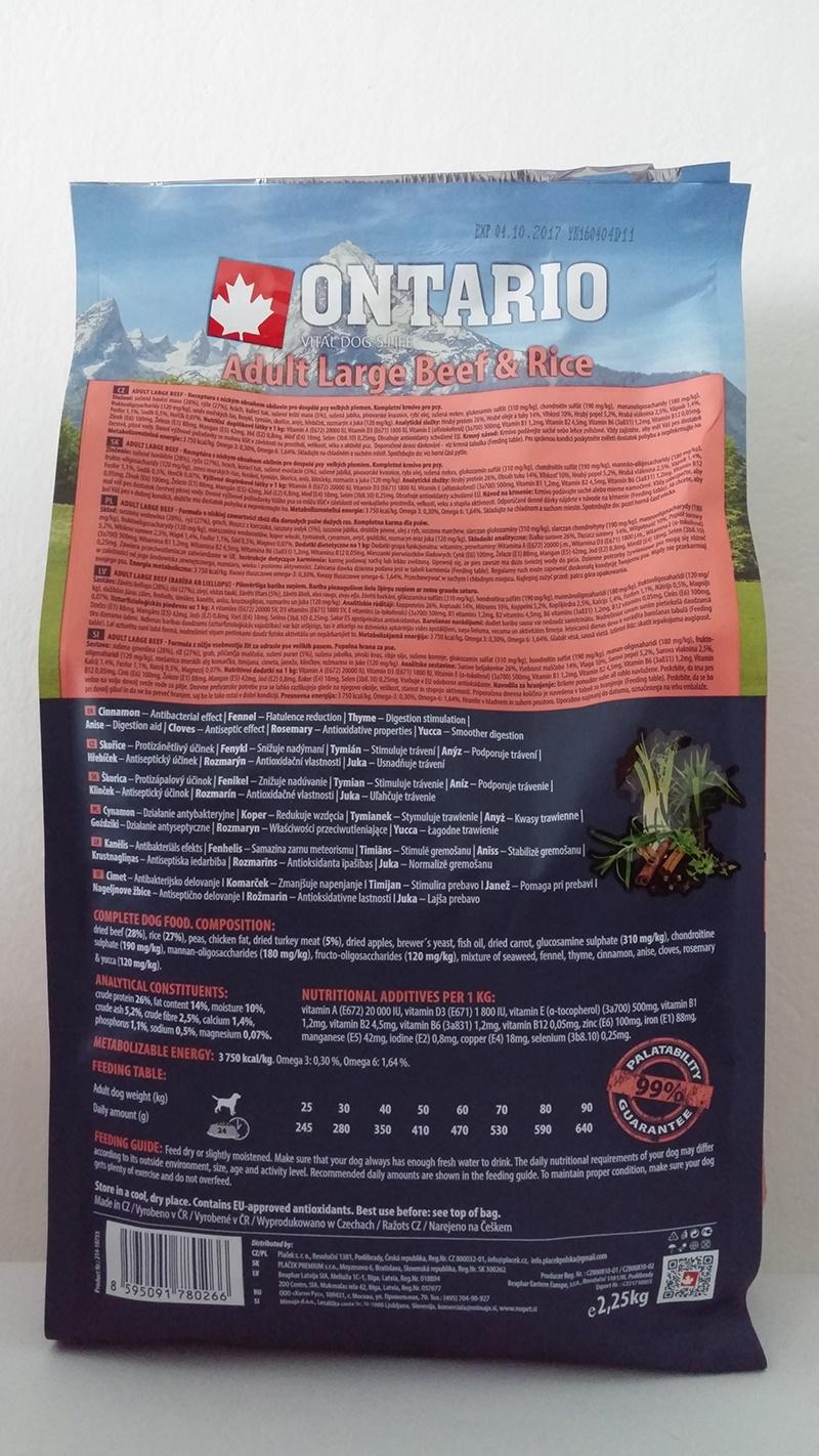 Barība suņiem - ONTARIO Adult Large Beef & Rice, 2,25 kg