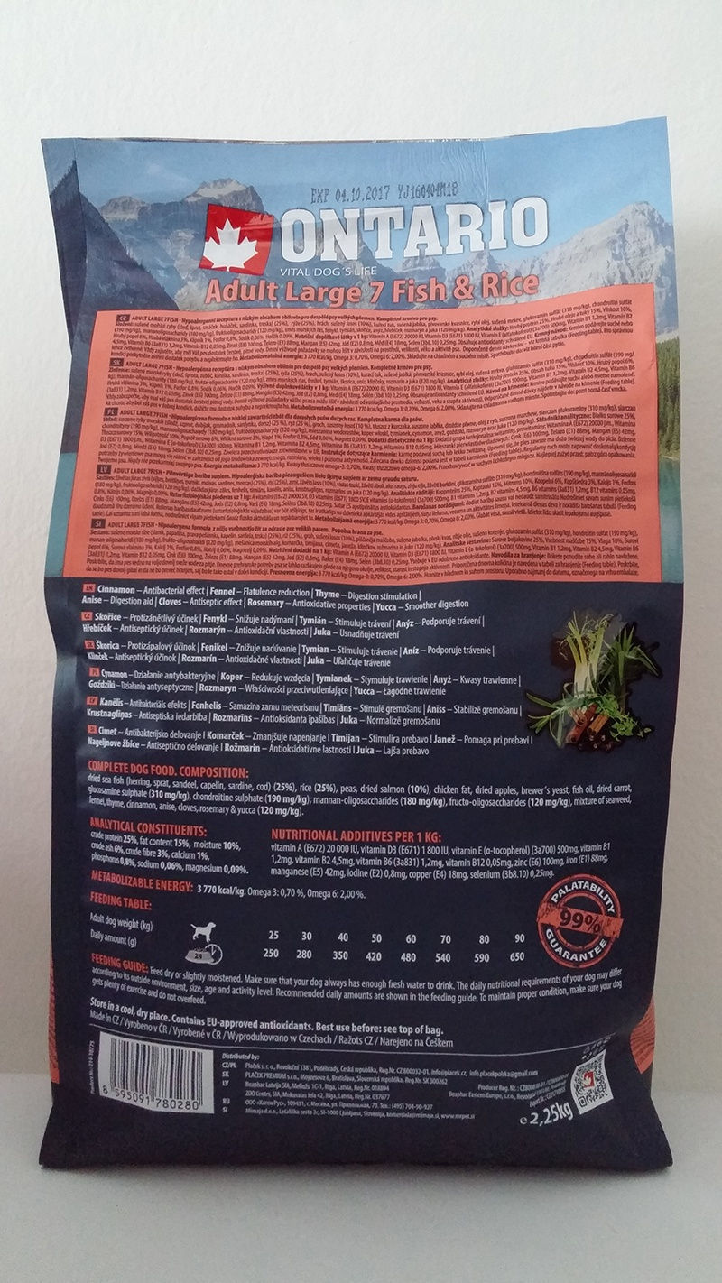Корм для собак – ONTARIO Adult Large Fish and Rice, 2,25 кг