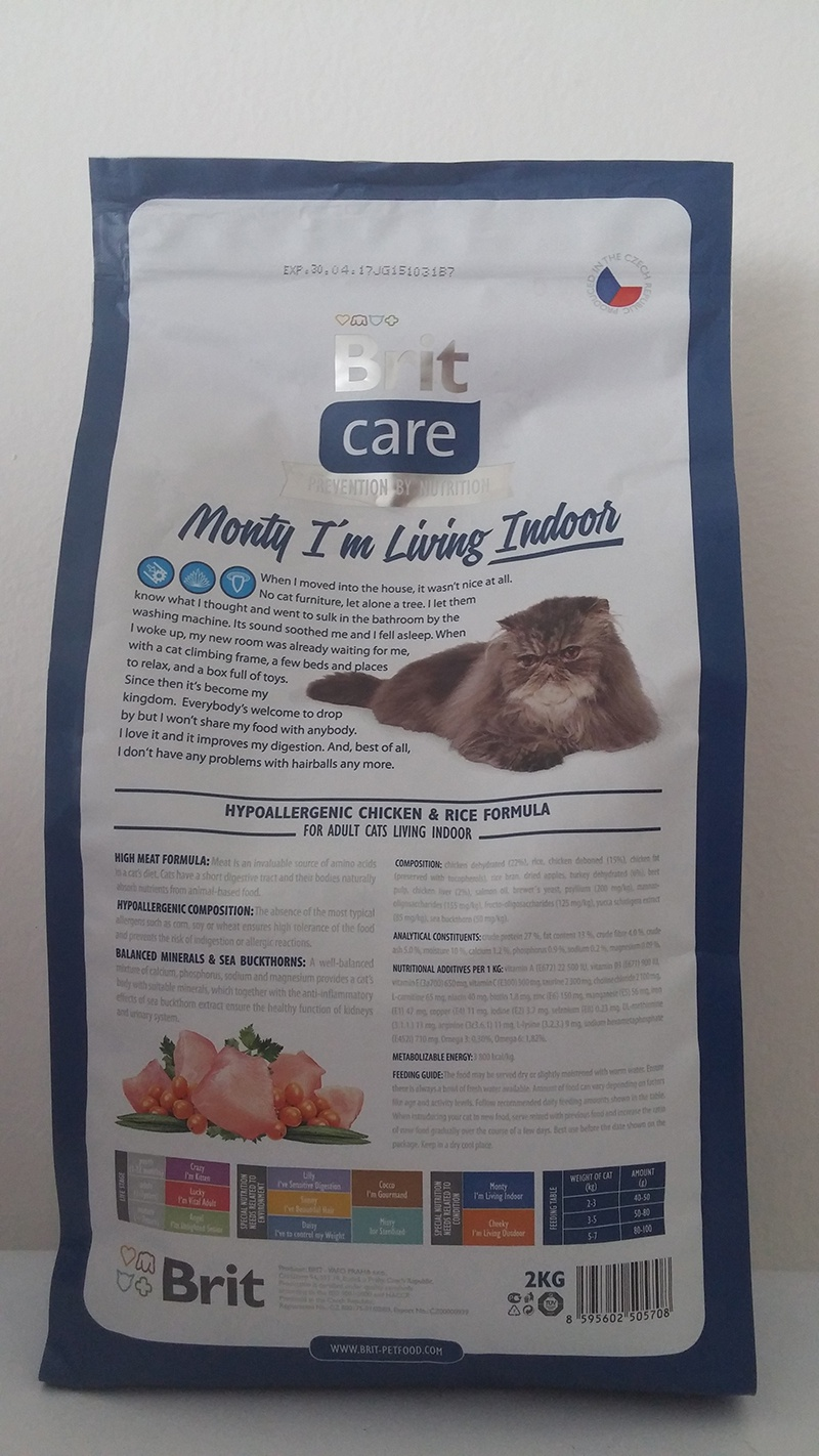 Bar­ība kaķiem - Brit Care Cat Monty I'm Living Indoor, vistas gaļa un rīsi, 2 kg