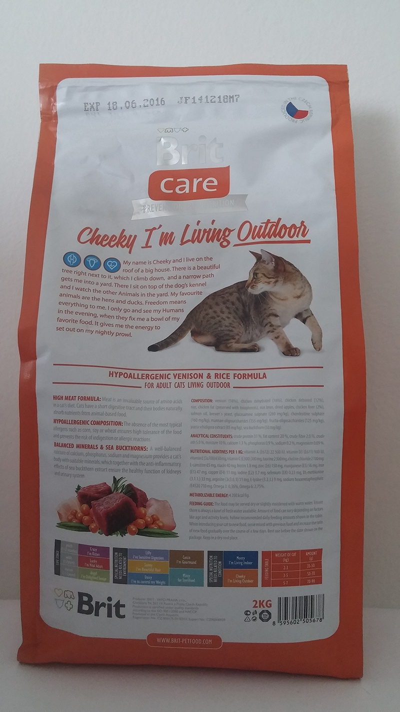 Корм для кошек - Brit Care Cat Cheeky I'm Living Outdoor, оленина и рис, 400 gr