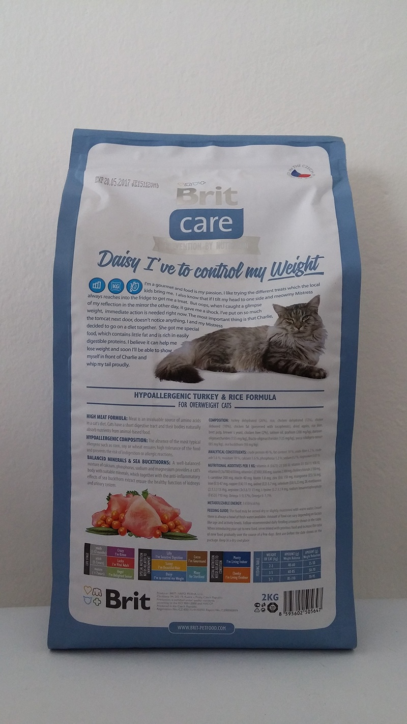 Корм для кошек - Brit Care Cat Daisy I've to control my Weight, индейка и рис, 2 kg