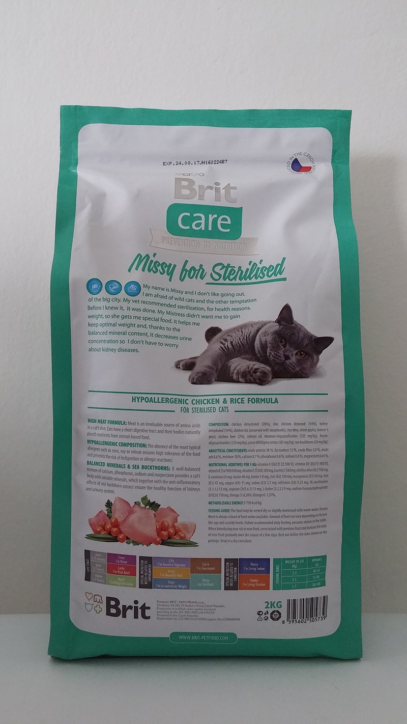 Barība kaķiem - Brit Care Cat Missy for Sterilised, vistas gaļa un rīsi, 400 gr