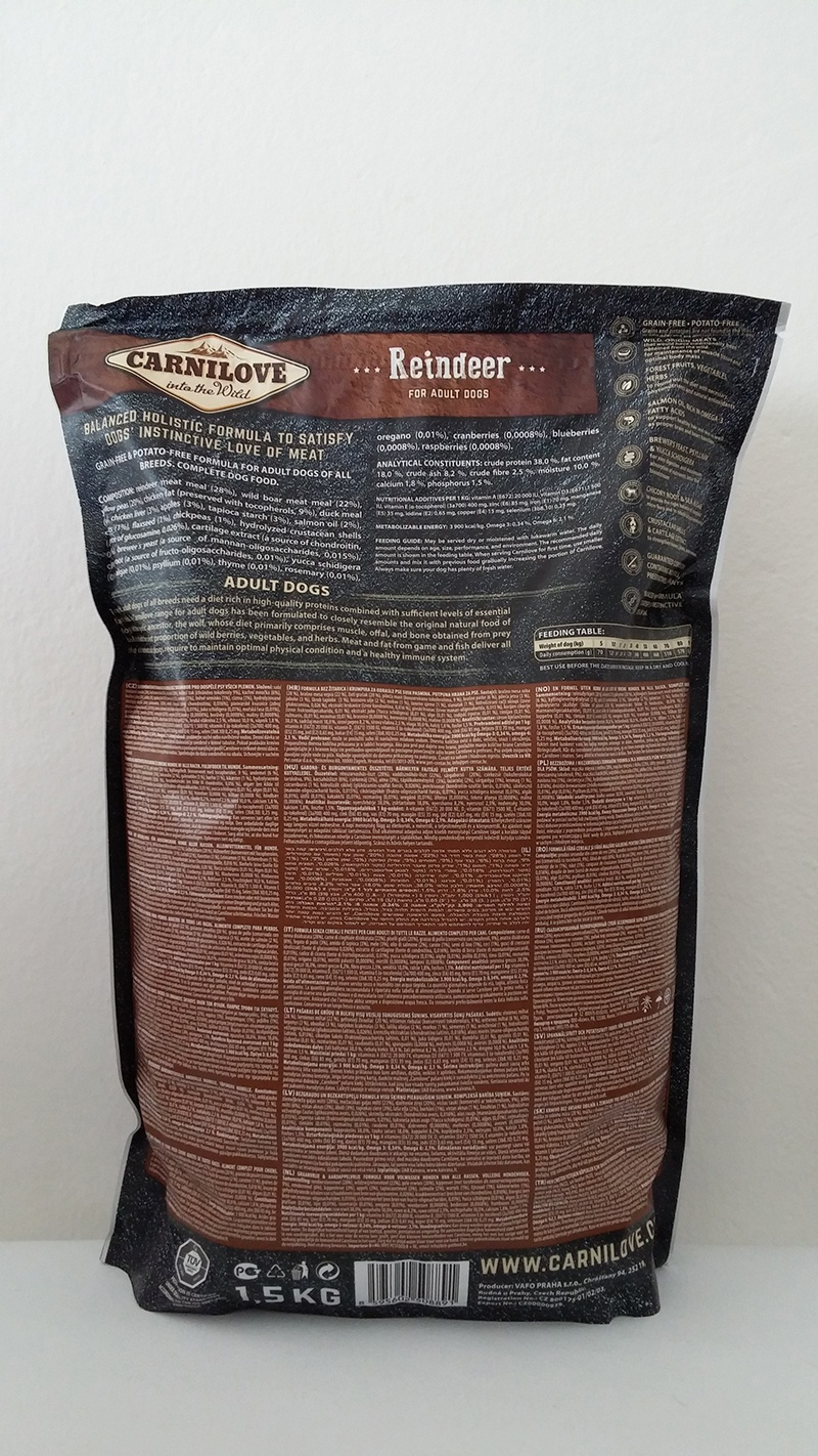 Корм для собак - CARNILOVE Adult Reindeer, 1.5 кг