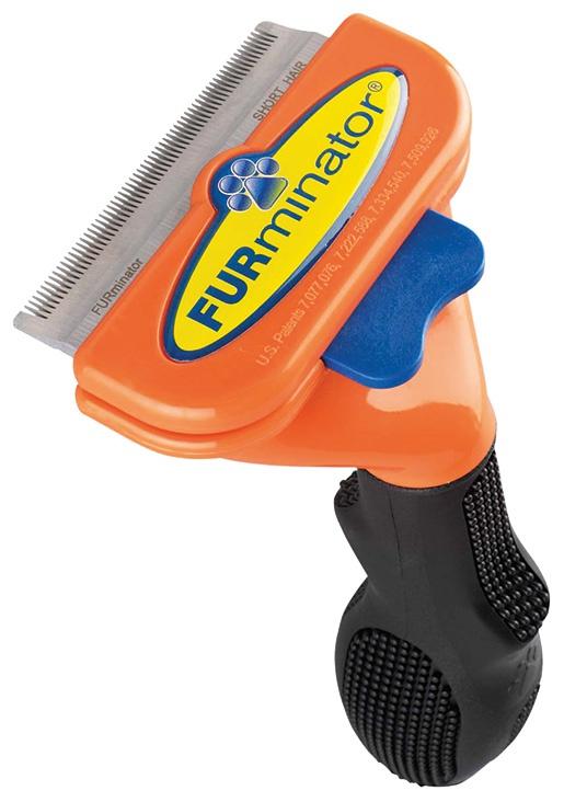 Расческа-фурминатор для собак - FURminator deShedding tool, для короткой шерсти, M + Безводный спрей