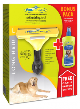 Ķemme suņiem - FURminator deShedding tool, hair long, L + Bezūdens aerosols