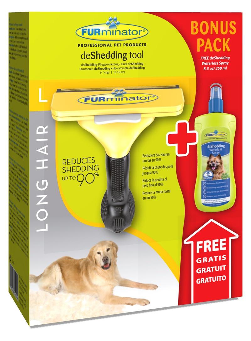 Расческа-фурминатор для собак - FURminator deShedding tool, для длинной шерсти, L + Безводный спрей