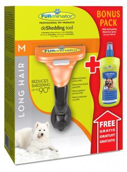 Расческа-фурминатор для собак - FURminator deShedding tool, для длинной шерсти, M + Безводный спрей