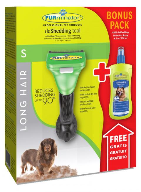 Ķemme suņiem - FURminator deShedding tool, hair long, S + Bezūdens aerosols