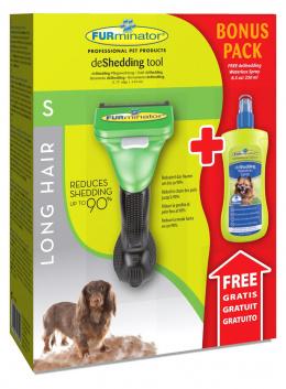 Расческа-фурминатор для собак - FURminator deShedding tool, для длинной шерсти, S + Безводный спрей
