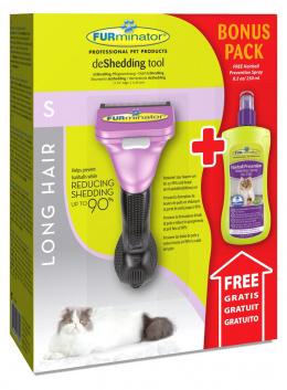 Расческа-фурминатор для кошек - FURminator deShedding tool, для длинной шерсти, S + Безводный спрей