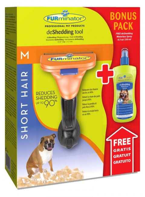 Расческа-фурминатор для собак - FURminator deShedding tool, для короткой шерсти, M + Безводный спрей title=