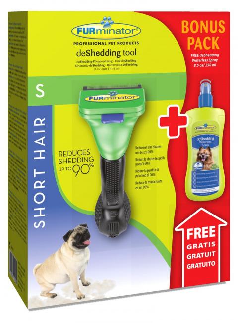 Расческа-фурминатор для собак - FURminator deShedding tool, для короткой шерсти, S + Безводный спрей title=