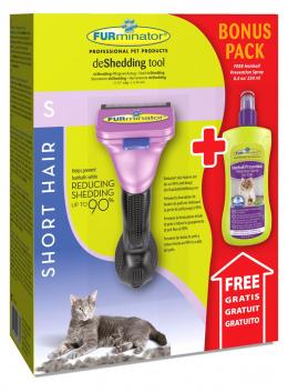 Ķemme kaķiem - FURminator deShedding tool, hair short, S + Bezūdens aerosols