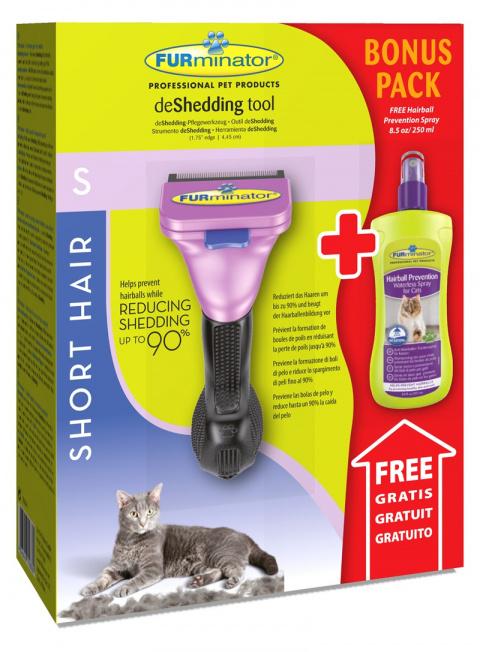 Расческа-фурминатор для кошек - FURminator deShedding tool, для короткой шерсти, S + Безводный спрей title=