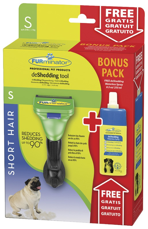 Расческа-фурминатор для собак - FURminator deShedding tool, для короткой шерсти, S + Безводный спрей