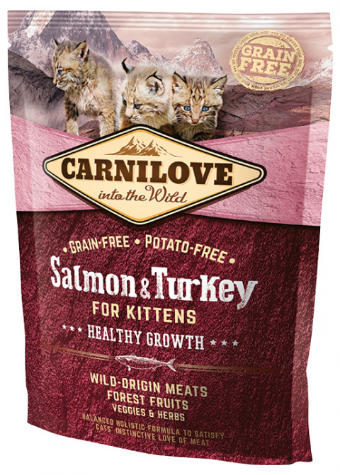 Корм для котят - CARNILOVE Kittens Healthy Growth, Salmon and Turkey, 0,4 кг title=