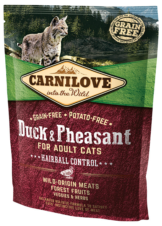 Barība kaķiem - CARNILOVE Adult Cats Hairball Control, Duck and Pheasant, 0.4 kg