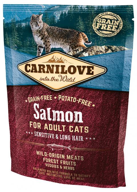 Barība kaķiem - CARNILOVE Adult Cats Sensitive and Long Hair Salmon, 0.4 kg