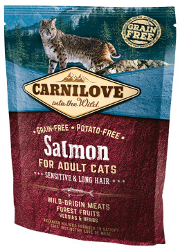 Barība kaķiem - CARNILOVE Adult Cats Sensitive and Long Hair Salmon, 0.4 kg