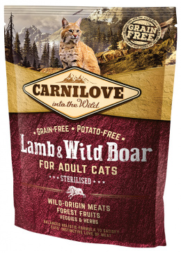 Barība kaķiem - CARNILOVE Adult Cats Sterilised Lamb and Wild Boar, 0.4 kg