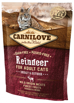 Barība kaķiem - CARNILOVE Adult Cats Energy and Outdoor Reindeer, 0.4 kg