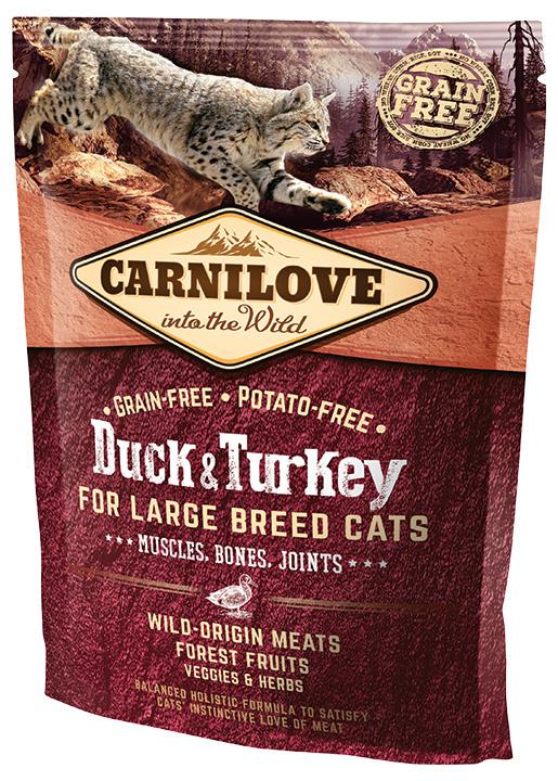 Barība kaķiem - CARNILOVE Adult Large Breed Cats Muscles, Bones, Joints, Duck and Turkey, 0.4 kg