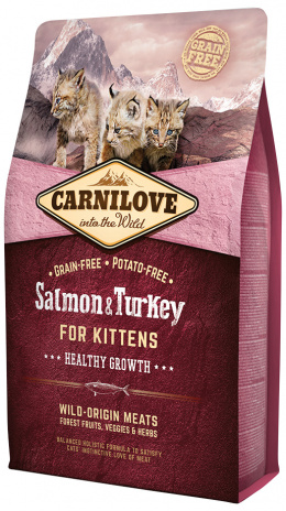 Barība kaķēniem - CARNILOVE Kittens Healthy Growth Salmon and Turkey, 2 kg