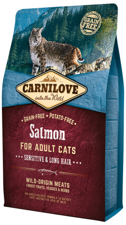 Barība kaķiem - CARNILOVE Adult Cats Sensitive and Long Hair Salmon, 2 kg