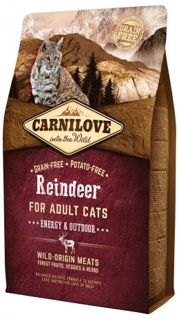 Barība kaķiem - CARNILOVE Adult Cats Energy and Outdoor ziemeļbriežu gaļa, 2 kg