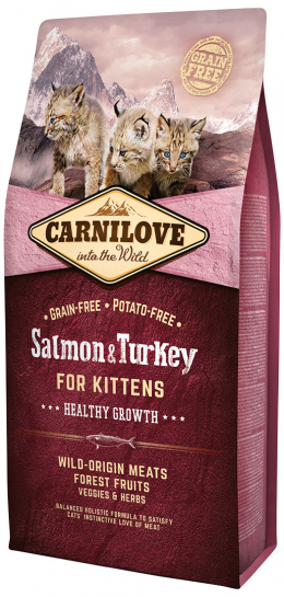 Barība kaķēniem - CARNILOVE Kittens Healthy Growth lasis un tītara gaļa, 6 kg