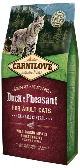 Корм для кошек - CARNILOVE Adult Cats Hairball Control, Duck and Pheasant, 6 кг