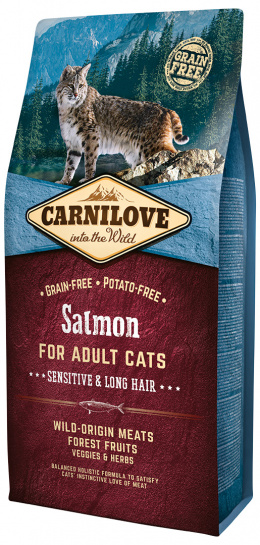 Barība kaķiem - CARNILOVE Adult Cats Sensitive and Long Hair, lasis, 6 kg