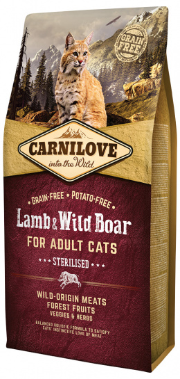 Barība kaķiem - CARNILOVE Adult Cats Sterilised, Lamb and Wild Boar, 6 kg