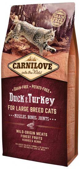Barība kaķiem - CARNILOVE Adult Large Breed Cats Muscles, Bones, Joints, Duck and Turkey, 6 kg