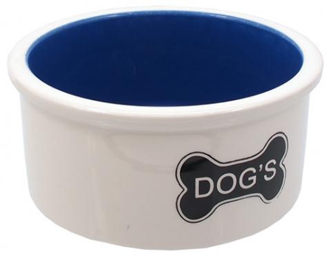 Керамическая Миска для собак - DogFantasy,Керамическая миска, белый, косточки, 15.5cm