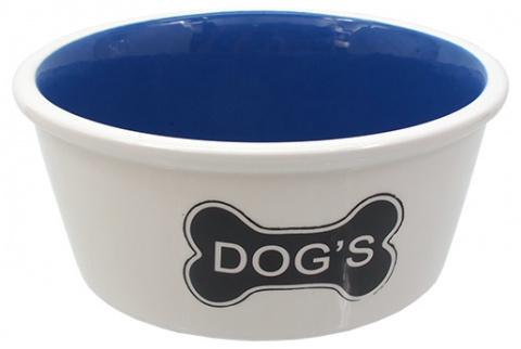 Bļoda suņiem keramikas - DogFantasy,Keramiska bļoda, balta with bones motif, 21cm title=