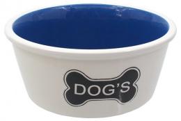 Bļoda suņiem keramikas - DogFantasy,Keramiska bļoda, balta with bones motif, 21cm