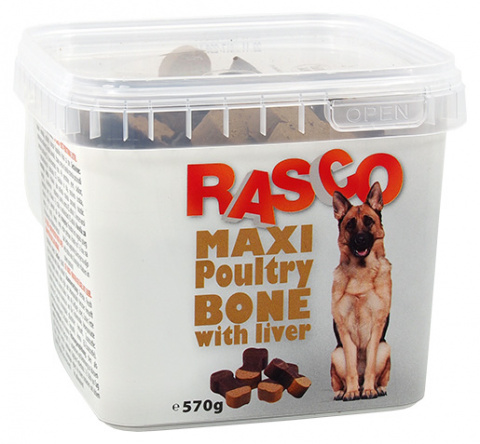 Лакомство для собак - Rasco Maxi Poultry Bone with liver, 570 г