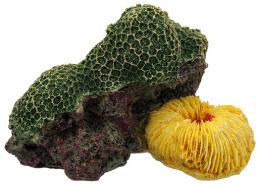 Dekors akvārijam - Aqua Excellent, Sea Coral, 12.5*9.5*7.6cm, krāsa - zaļa/dzeltena