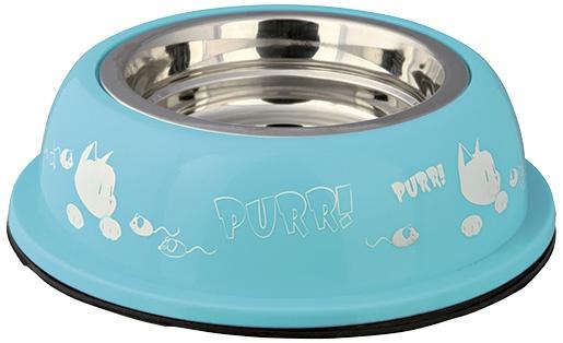Мисочка для кошек - Стальная миска с пластиковым держателем, 0.25l / 12cm