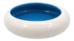 Миска для кошек - MAGIC CAT, Керамическая миска, круглая, белый/синий, 10.5cm