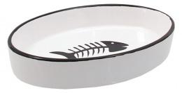 Bļoda kaķiem – MAGIC CAT, Ceramic Bowl, Oval, White with Fish, 16 x 11 cm