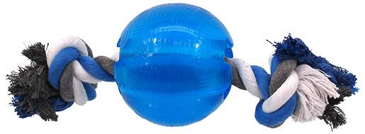 Rotaļlieta suņiem - DogFantasy Good's Rubber Strong ball with rope, 8.2cm, krāsa - zila