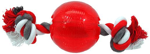 Игрушка для собак - DogFantasy Good's Крепкий резиновый мяч с веревкой, 8.2см, цвет - красный