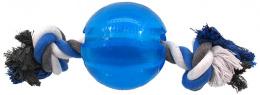 Rotaļlieta suņiem - DogFantasy Good's Rubber Strong ball with rope, 9.5cm, krāsa - zila