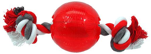 Rotaļlieta suņiem - DogFantasy Good's Rubber Strong ball with rope, 9.5cm, krāsa - sarkana